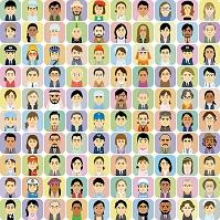 様々な人種の働く男女の集合イラスト