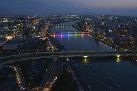 新潟県 信濃川と新潟市の夜景