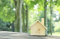 森の中のウッドデッキに置かれた木製の家
