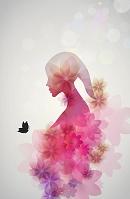 女性のシルエットと花と蝶