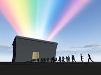 建物から虹が上方へ放射する