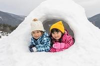 かまくらを作って中に入る日本人の子供達