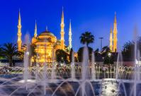 トルコ イスタンブール ブルーモスク/噴水/夜景