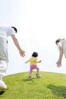 公園を歩く日本人家族の後ろ姿