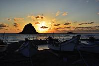 北海道 無縁島の落陽