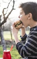 ハンバーガーを食べる子供