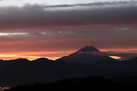 山梨県 櫛形山・富士山の朝焼け