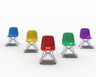 白い部屋に置かれた5色の椅子 CG