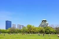 大阪府 大阪城 西の丸庭園で遊ぶ小学生と天守閣