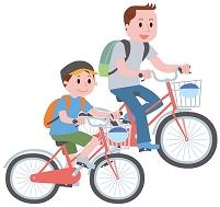 サイクリングを楽しむ親子