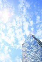 東京都 うろこ雲が反射した高層ビル