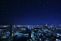 東京都 星空の東京タワーと勝鬨橋
