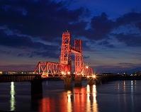 福岡県 大川市 昇開橋の夕景