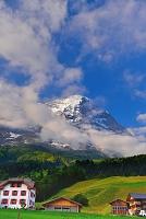 スイス アルプスとグリンデルヴァルトとアイガーと草原の家々
