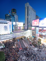 東京都 夕暮れの渋谷駅前交差点