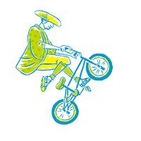 浮世絵風 自転車競技