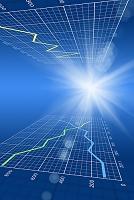 折れ線グラフと光 CG