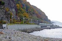 紅葉の小樽の海辺を走る