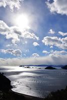 銀色に輝く海 錦から東紀州遠望