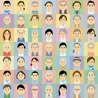 介護施設で働く男女と高齢者の集合イラスト