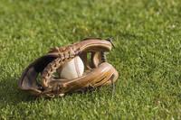 芝生の上の野球ボールとグローブ