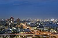 東京都 首都高速道路と東雲、辰巳周辺の街並み 夜景