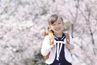 桜の木の下に立つ新入学生