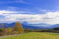山梨県 八ヶ岳牧場の紅葉と富士山