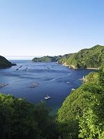 三重県 古和浦湾と養殖いかだ