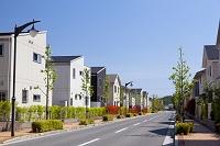 住宅街の家並みと道路