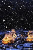 京都府 美山町 ライトアップされた雪景色の茅葺き民家群
