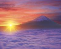 山梨県 富士川町 櫛形山から望む富士山と朝日