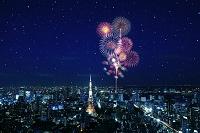 東京都 東京タワーと打ち上げ花火
