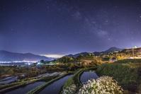 長野県 姨捨の棚田と天の川