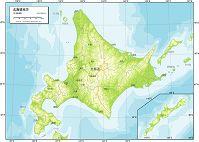 北海道地方 地勢図