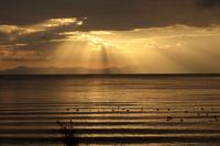 滋賀県 長浜港近くより琵琶湖を南に望む 夕日の光